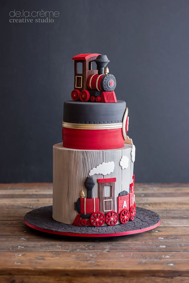 Red And Black Steam Train Theme Cake