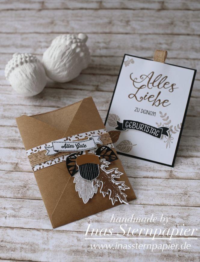 Stampin Up Geburtstagskarte Kupfer Blätter Herbst
