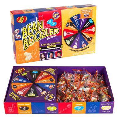 Jelly Belly Beanboozled Jelly Beans JUMBO Spinner Gift Box is a box of candy and game all in one! Use the spin wheel to decide what bean you eat. Will it taste great or gross?      Gluten free     Peanut free     Dairy free     Fat free     Vegetarian friendly  Bamboozle the kids, family, friends, or just about anyone, with the Jelly Belly BeanBoozled Gift Box thats a game and a candy all in one.  Take the dare with the spinner wheel, then pick the jelly bean in the color the spinner lands…