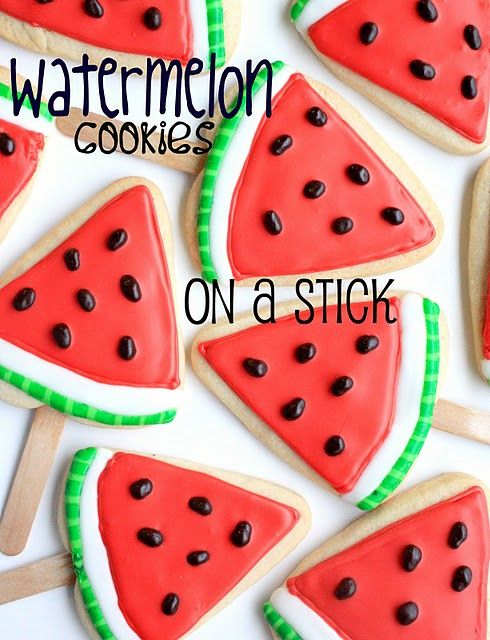 #Watermelon #Cookies on a stick! scream #summer too cute!