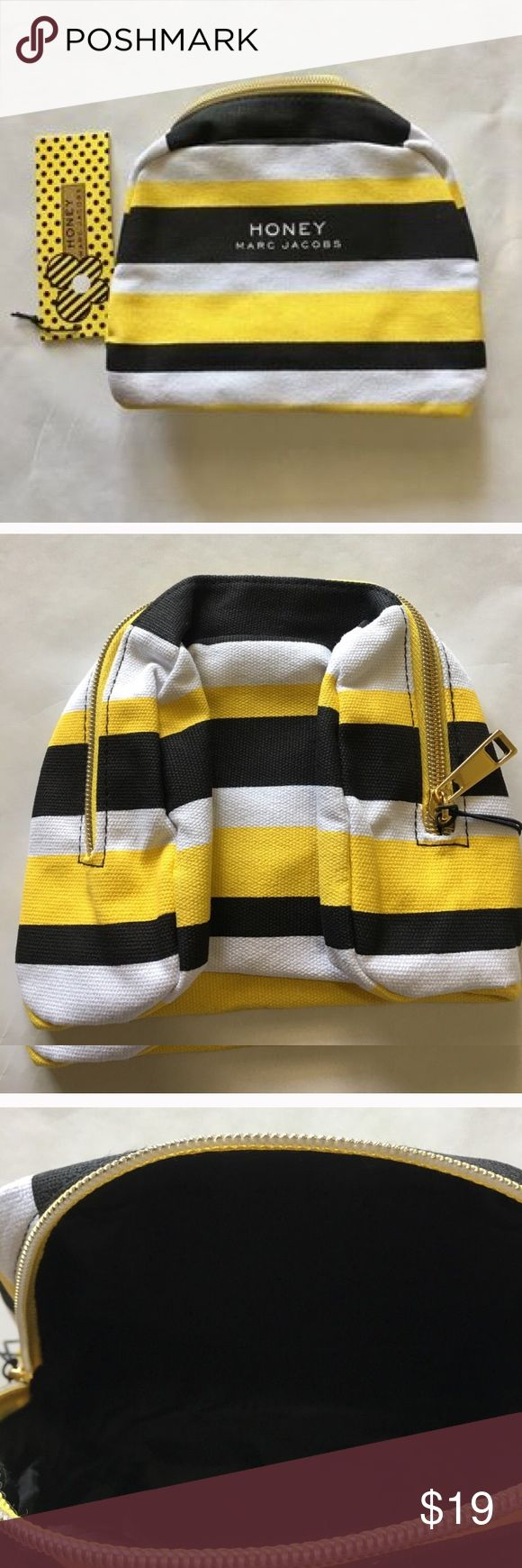 """🐝 MARC JACOBS """"Honey"""" striped cosmetics bag 🐝 Brand new with original tags. MARC JACOBS logo on front, full zip. Feel free to ask questions. Marc Jacobs Bags Cosmetic Bags & Cases"""