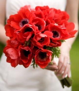 eustoma - czerwony bukiet ślubny