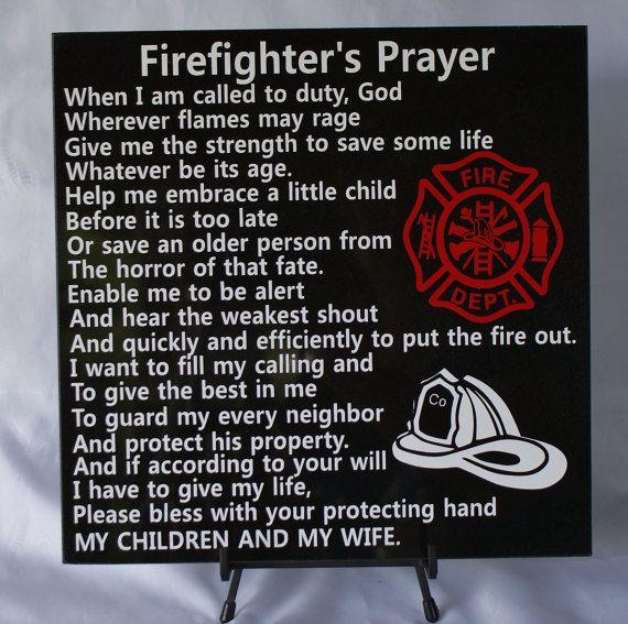 Firefighter's Prayer - Fireman Tribute - Gift for Firefighter - Fireman's Prayer - Firefighter Memorial - Retirement Gift for Fireman