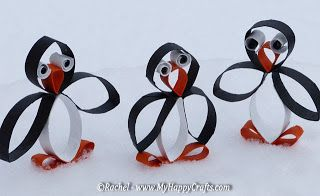 curled paper penguins