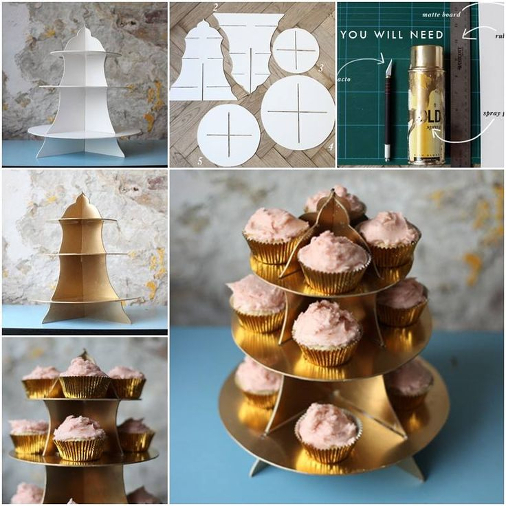 Make your own cupcake stand is really rather a lot of fun! It is the ideal way to hold many cupcakes at once, perfect for weddings, dinner party dessert, kids' parties and your workplace morning tea.  :)  Tutorials here--> http://wonderfuldiy.com/wonderful-diy-easy-cupcake-stand-from-cardboard/  More #DIY projects: www.wonderfuldiy.com