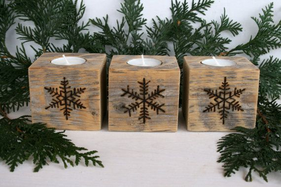 Rustic Wooden Tealight Holders with Snowflakes - Set of 3 - Reclaimed Wood