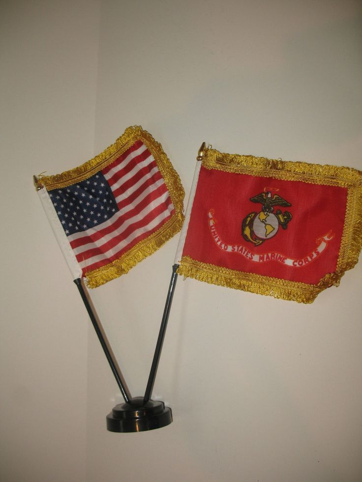Miniature U.S. Marine Corps And American Flag Desk Set