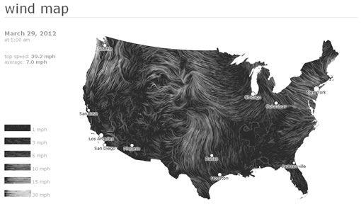 Une superbe représentation visuelle imaginée par deux ingénieurs de chez Google, fondée sur les données de la météo US pour créer cette carte animée des vents.