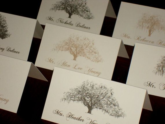 Tree Themed Wedding Place Cards / Escort Cards by theinklab, $1.80