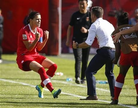 Canada's Christine Sinclair celebrates her game-winning stoppage-time penalty shot goal against China with head coach John Herdman against China during a FIFA Women's World Cup soccer match in Edmonton, Alberta, Saturday, June 6, 2015. (Jeff McIntosh/The Canadian Press via AP) MANDATORY CREDIT ▼6Jun2015AP|Sinclair gives Canada 1-0 win over China in World Cup opener http://bigstory.ap.org/article/941d88b8a1b944fd9c201be7a0f375f2 #2015_FIFA_Womens_World_Cup #Group_A_Canada_vs_China
