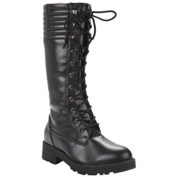 Hot Topic Black Mid-Calf Lined Combat Boot ($37) ❤ liked on Polyvore featuring shoes, boots, shearling-lined boots, combat boots, black army boots, calf length boots and military boots