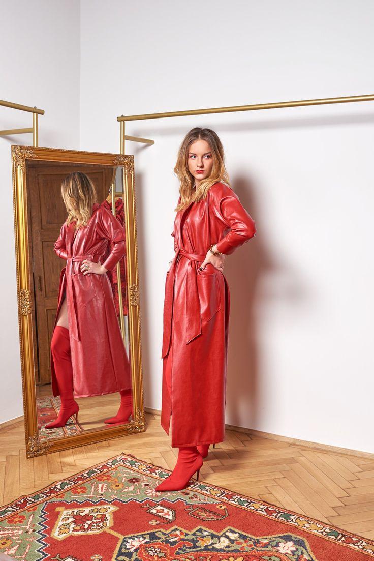 red-dress-leather-piros-bőr-ruha-kabát
