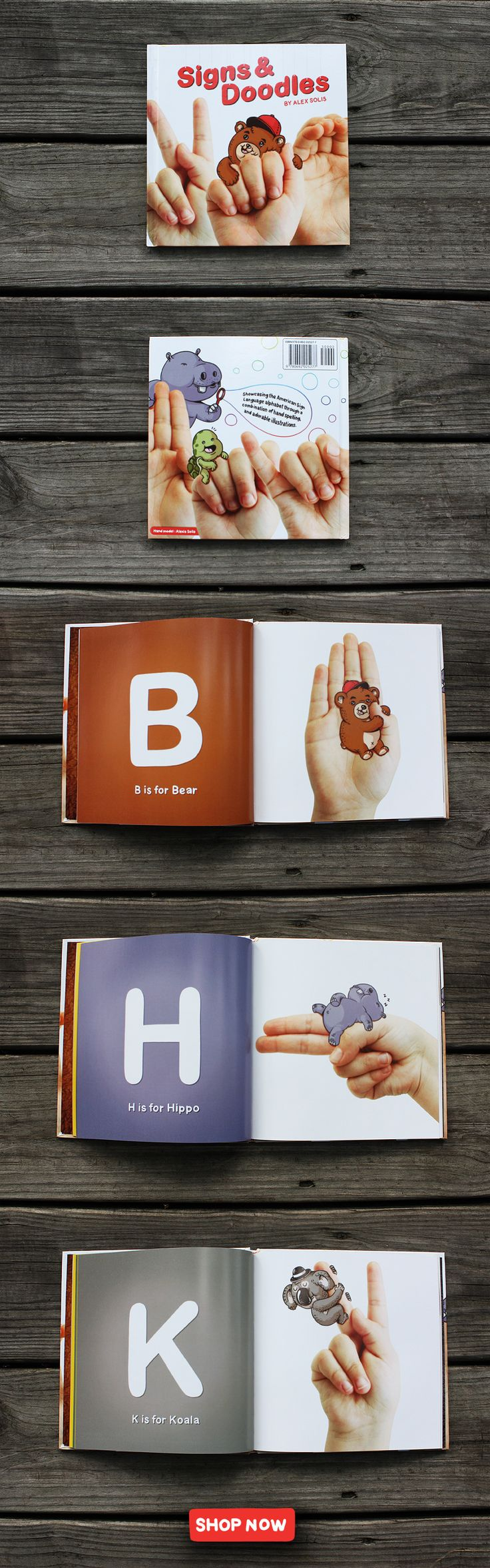 I am so excited about this Book!  Bright large letters and the kids are able to place their hand against the image to practice the Sign!  Much respect for this Artist