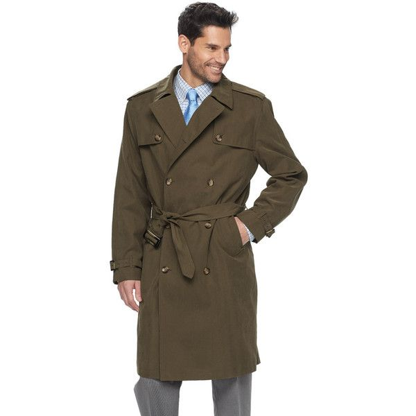 Men's Tower by London Fog Raised Twill Double-Breasted Rain Coat (10.310 RUB) ❤ liked on Polyvore featuring men's fashion, men's clothing, men's outerwear, men's coats, brt green, mens short raincoat, mens green sport coat, mens raincoat and mens short trench coat