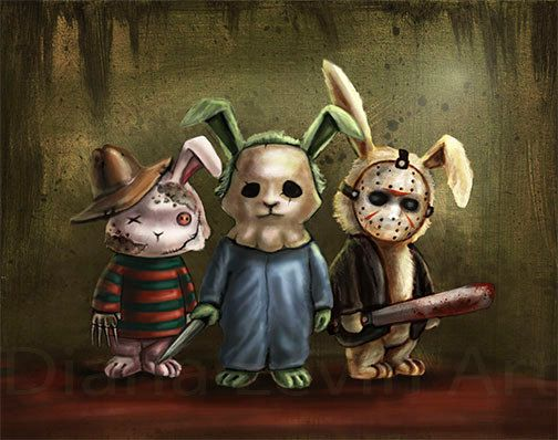 Horror Bunnies Art Print  Halloween Artwork  by DianaLevinArt, $15.00