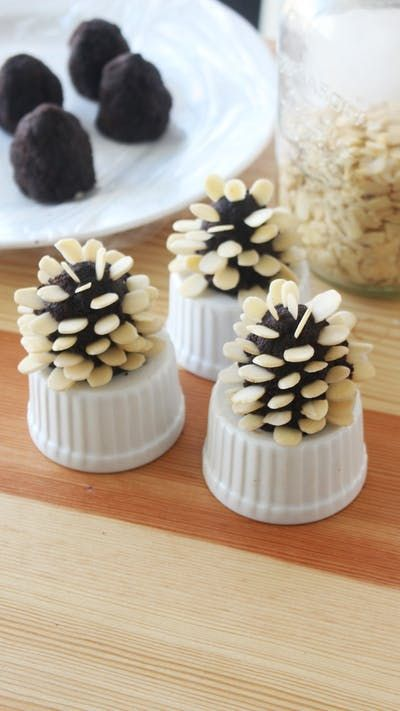 Recipe with video instructions: These chocolate cake pops are decorated with almonds to look like adorable pine cones! Ingredients: 375 grams chocolate cake, 110 grams dark chocolate, melted, Sliced almonds, Confectioner's sugar