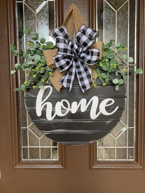 Shiplap Style Door Sign Black And White Plaid Farmhouse Door Decoration Home Front Door Wreath Door Hanger Beaded Board Door Hanger Diy Door Decor Door Decorations Wreath Decor