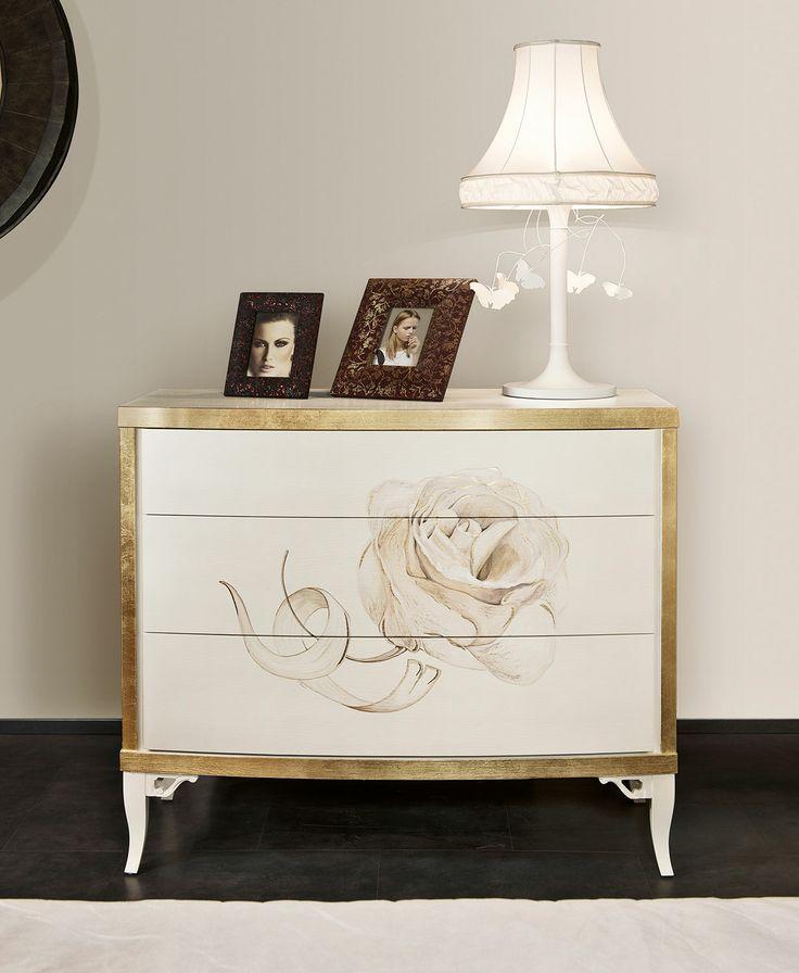 MASSON MATIÉE Arredamento moderno, armadi, comò e comodini tavoli e sedie, camere da letto | h15 ViA VENETO Comò, finitura pittorica manuale ROSA