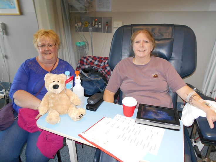 Heather and I at The Alfred Hospital, Melbourne, with Alfred the Bear. We helped her through her chemo session.
