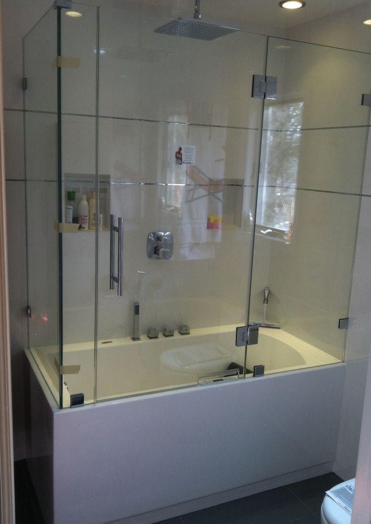 Frameless Bathtub Enclosure Bathroom Design Small Modern