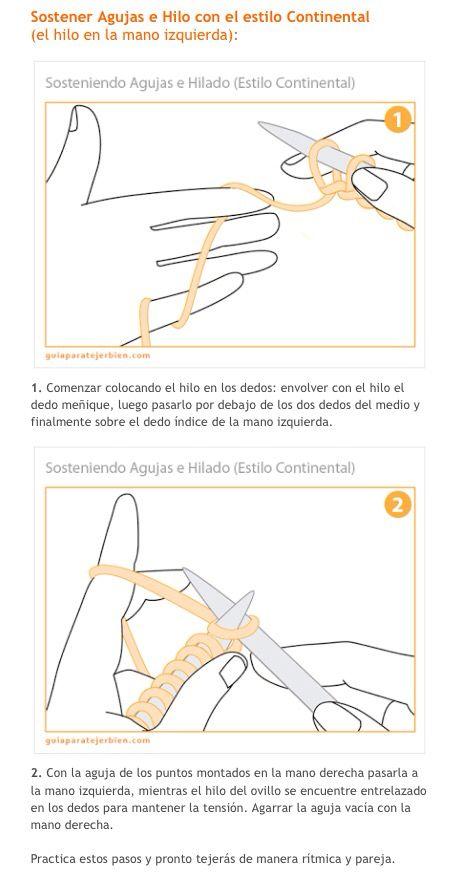 Tejer con estilo continental o alemán. Como sostener la aguja y el hilo (c2)