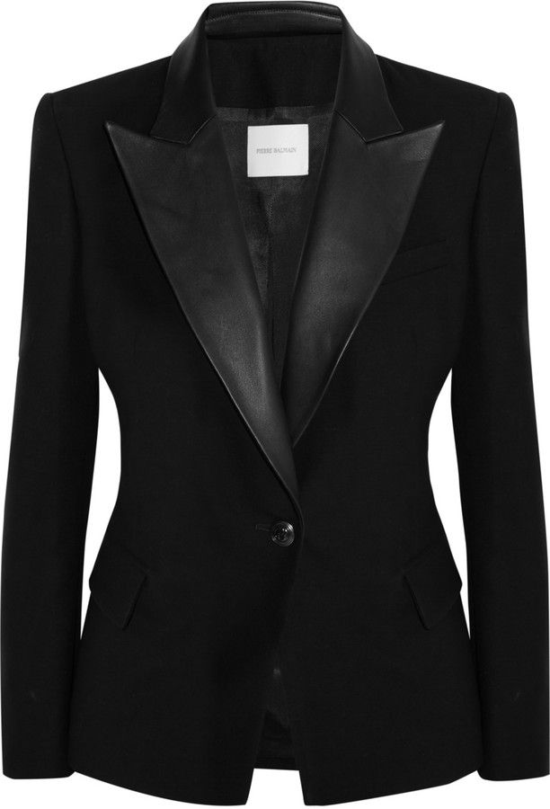 ON SALE! Pierre Balmain Leather-trimmed wool-blazer