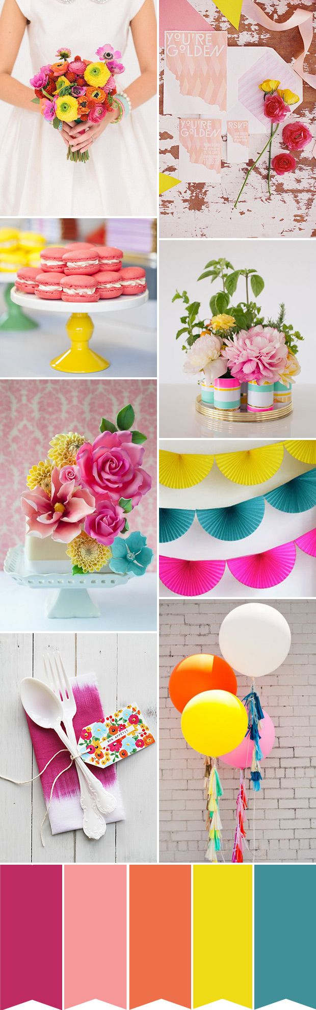 A colourful and fun wedding colour palette | www.onefabday.com