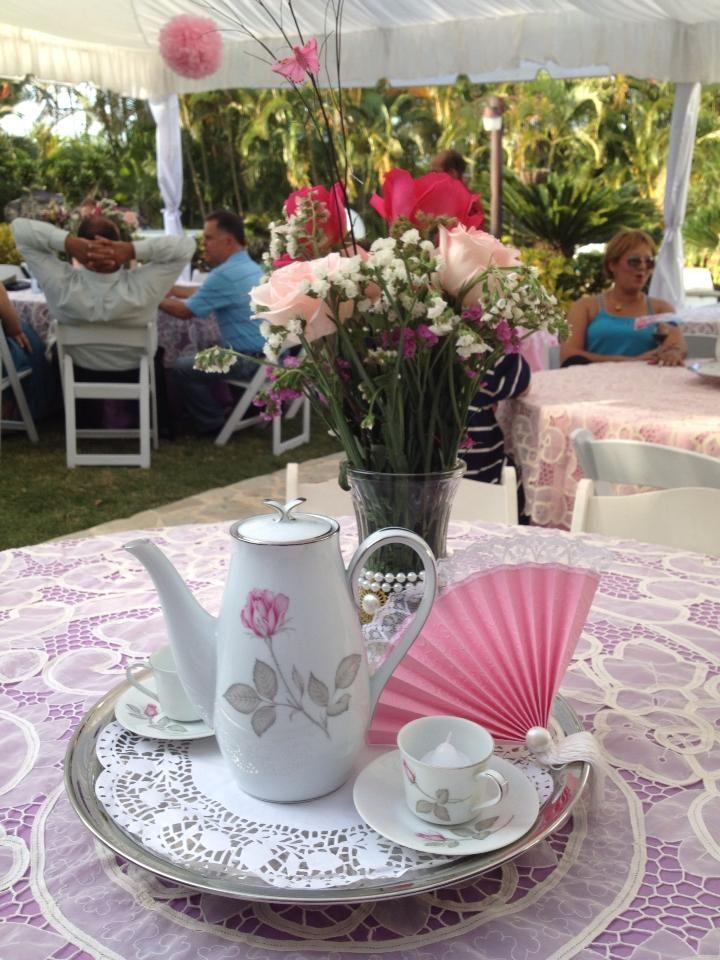 Grandma 39 s 101 birthday centerpiece tea party decor for Tea party centerpieces