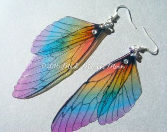 Micro Rainbow Fairy Wing Hair Comb iridescent by MadMarchMoon