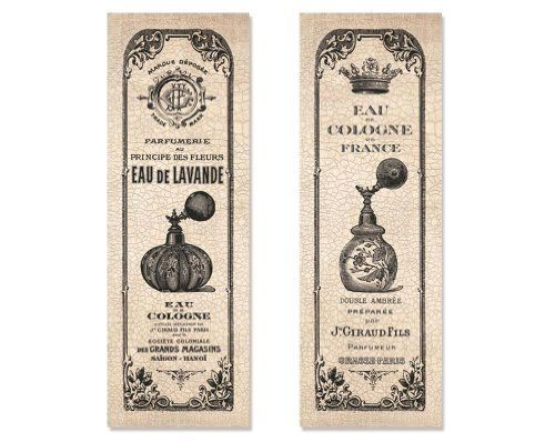 2 Vintage French Perfume Cologne Bottle Hotel Bathroom Art Prints Ornate  Décor 6x18, Http: