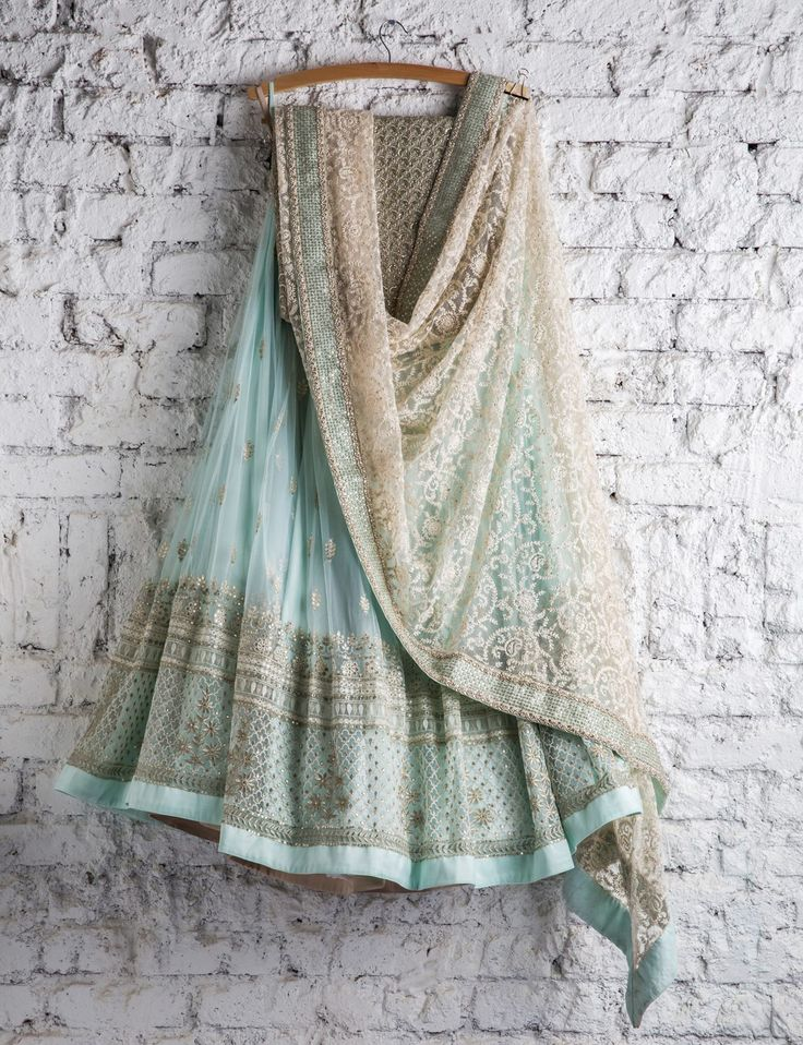 Gorgeous light blue- mint green lengha with detailed embroidery