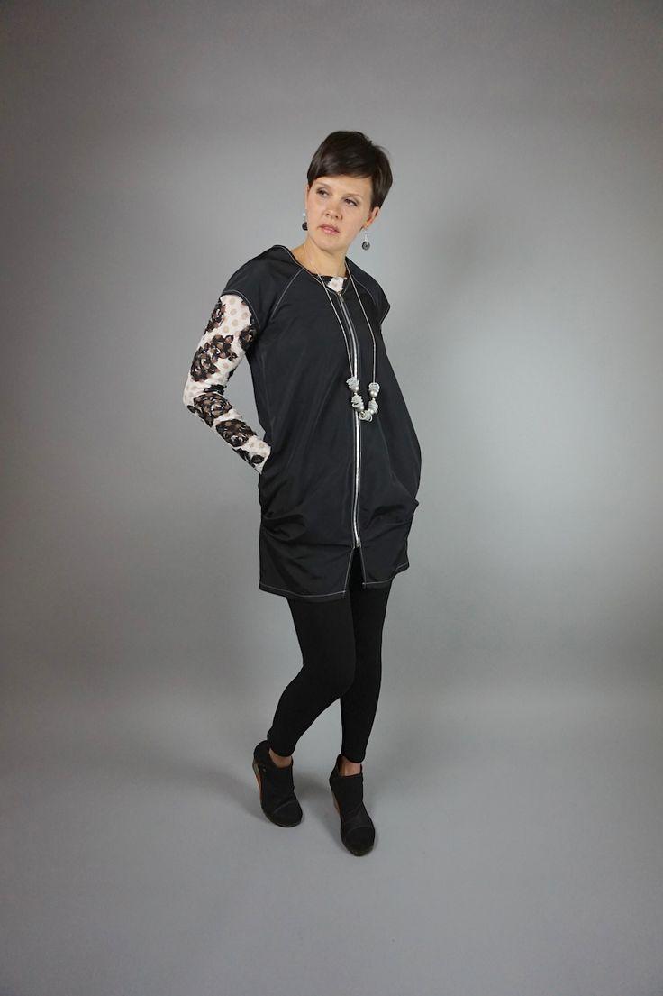 Lucy dress by Lousje & Bean www.lousjeandbean... #funkydress #leggings #artshoes #lousjeandbean #canadianmade