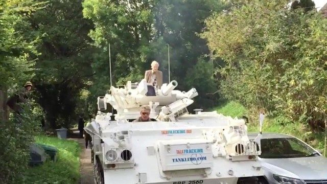 Vivienne Westwood drives tank to Cameron's home in fracking protest