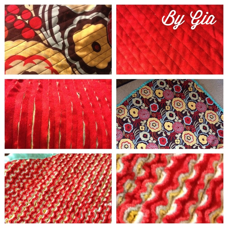 """Easy baby blanket...patterned fabric and three layers of flannel. Sew diagonally, then cut between seams. When washed, creates """"chenille""""."""