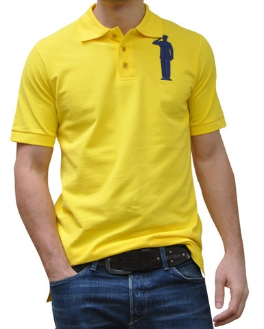 Yellow Polo. 100% Organic Cotton. 3 button placket. Bold Embroidery Front & Back.  Model 6' ft, waist 31 wearing Small Bold Polo. Order online: http://www.el-capitano.com/collections/polos/products/yellow-polo