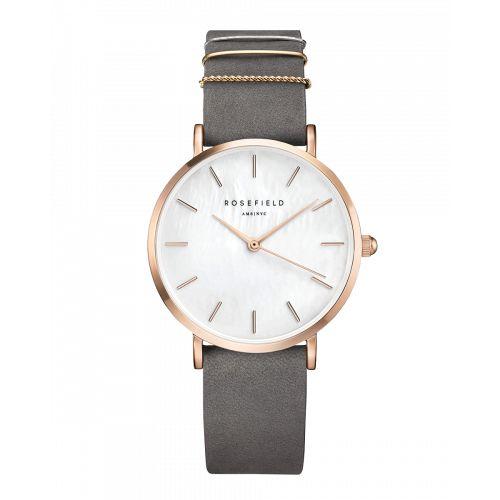 Gold ladies watch West Village - grey strap | ROSEFIELD Watches