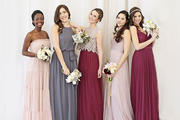 Autumn Winter BHLDN bridesmaids dresses - gorgeous gowns in shades of the season such as plum, navy, wine, green and red as well as lots of sparkle...
