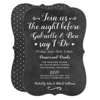 The Night Before Invitation   Black Chalkboard - invitations custom unique diy personalize occasions