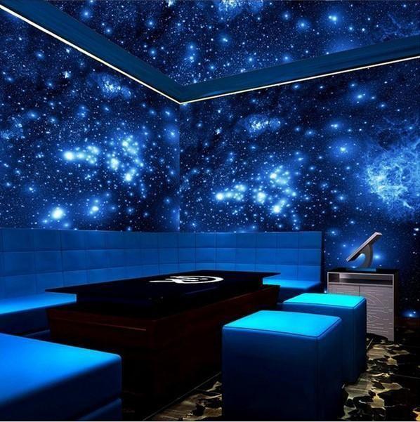 Custom 3d Blue Universe Galaxy Wallpaper For Walls High Quality Stars Ceiling Wallpaper Galaxy Mural Backdrop Wall Ceiling Murals Wall Wallpaper Star Ceiling