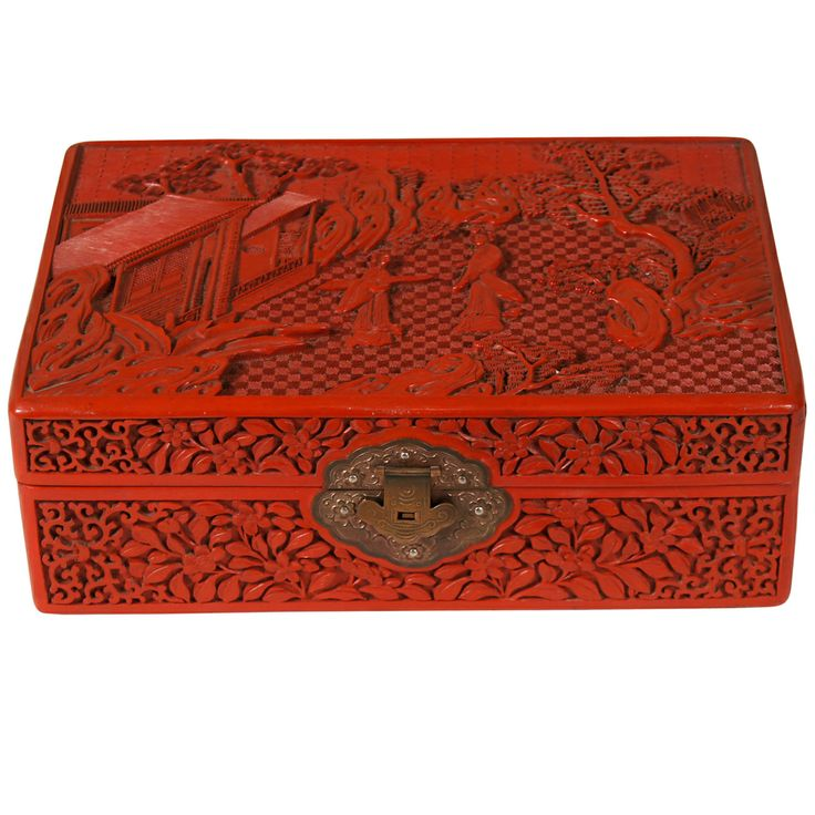 Chinese Cinnabar Box | From a unique collection of antique and modern boxes at http://www.1stdibs.com/furniture/more-furniture-collectibles/boxes/