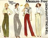 "PATTERN Vogue 1798 Straight legged Pants - Measure-free Gingham Fitting Shell - Waist 28"" Vogue basic design (uncut)"