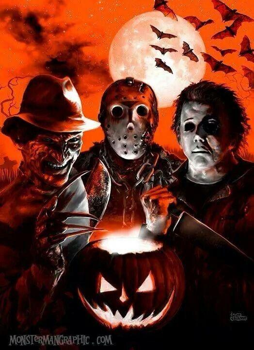 Happy Halloween.  Horror. Freddy Krueger jason michael Myers