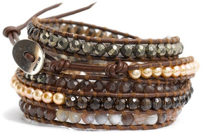 Chan Luu Semiprecious Stone Wrap Bracelet  $188  Alternating sections of semiprecious stones, freshwater pearls, and pyrite beads on a leather cord designed to wrap the wrist multiple times.  NORDSTROM.COM