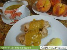 Pollo con salsa de melocotón en Thermomix