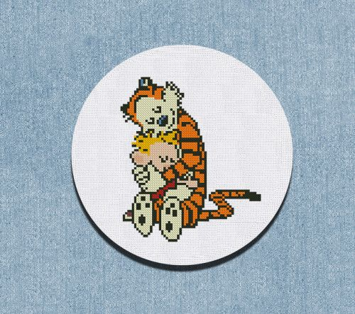 Cross Stitch Pattern Hugs Calvin and Hobbes Counted Chart PDF
