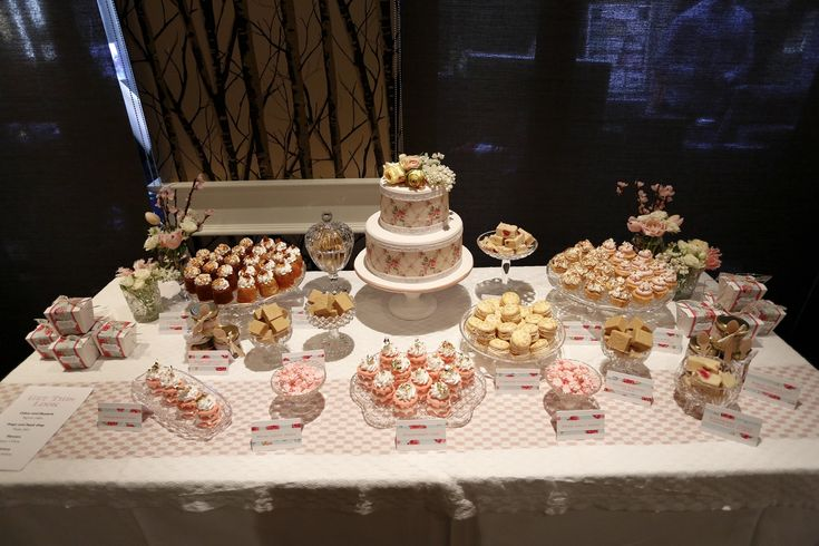 pink and gold buffet