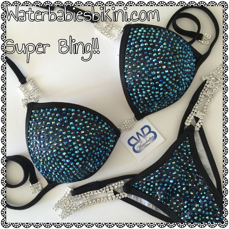 Jet AB crystals on black slinky sequins! Use my Savings Code CG2015AFF at Waterbabiesbikini.com to order to your custom suit- or get a pre-made