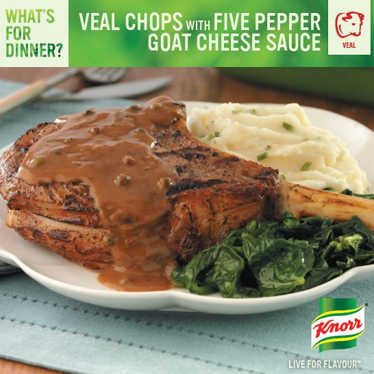 Veal Chops with Five Pepper Goat Cheese Sauce: http://whatsfordinner.knorr.ca/i/116510/26