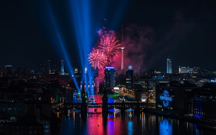 Download wallpapers Berlin, night, fireworks, Berlin TV Tower, holiday, Germany
