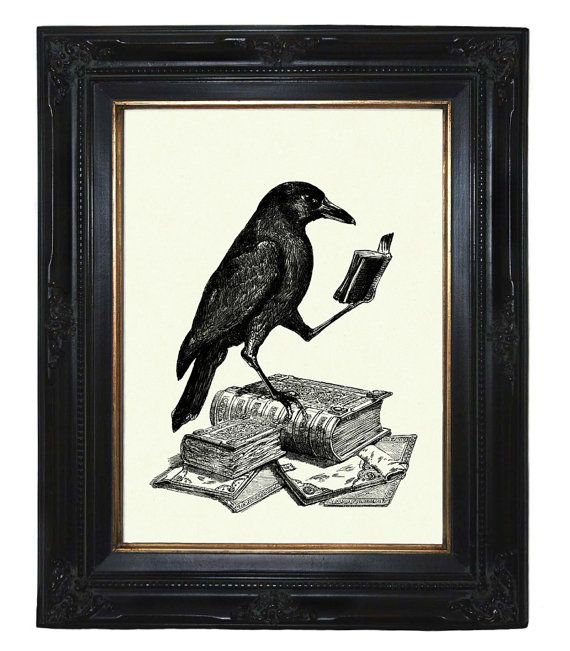 Halloween Raven Crow reading a Book - Victorian Steampunk art print